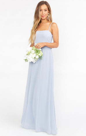 Lauren Tie Maxi Dress ~ Steel Blue Chiffon
