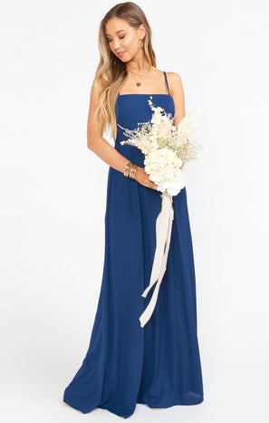 Lauren Tie Maxi Dress ~ Rich Navy Crisp