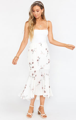Midnight Flounce Skirt ~ Pretty in White Floral