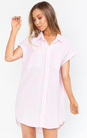 Martin Shirt Dress ~ Blush Stripe