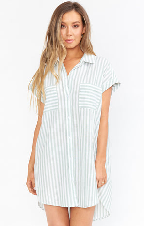 Martin Shirt Dress ~ Sage Stripe
