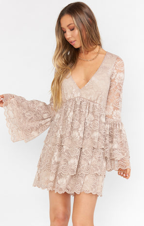 Chateau Dress ~ Fancy Floral Lace Champagne