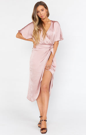 Kimora Wrap Dress ~ Mauve Silky Satin