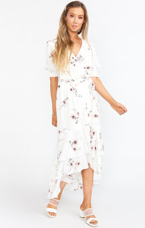 Evermore Ruffle Wrap Dress ~ Pretty in White Floral
