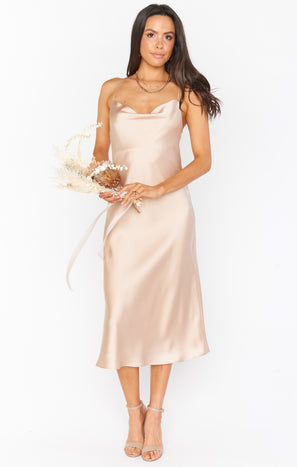 Verona Cowl Dress ~ Champagne Luxe Satin