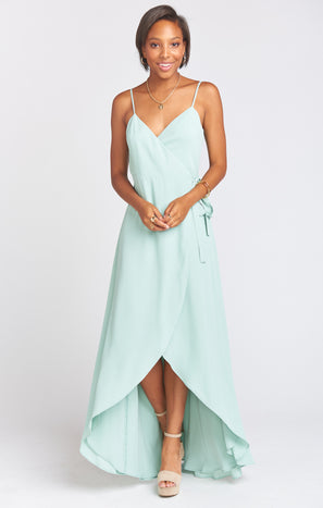 Mariah Wrap Dress ~ Dusty Mint Crisp