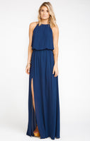 Elasticized Waistline Halter High-Neck Bridesmaid Dress With a Sash