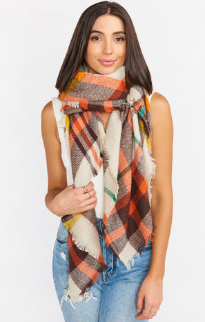 Cambrey Plaid Scarf ~ Red/Multi
