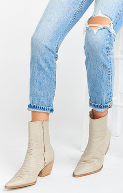 Matisse Caty Bootie ~ Ivory Snake