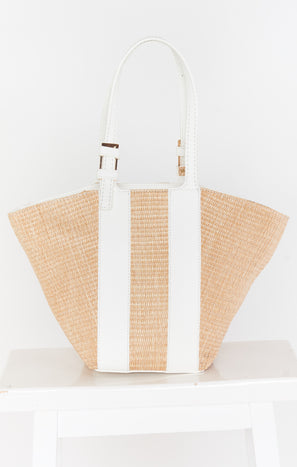 Elyse Straw Bag ~ Nat/White