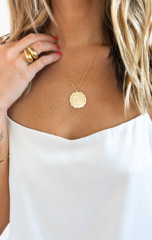 Gorjana Mosaic Coin Necklace ~ 18K Gold Plated