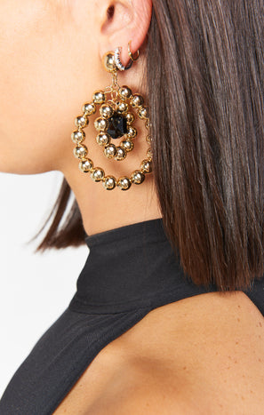Vanessa Mooney Elsa Earrings ~ Gold/Black