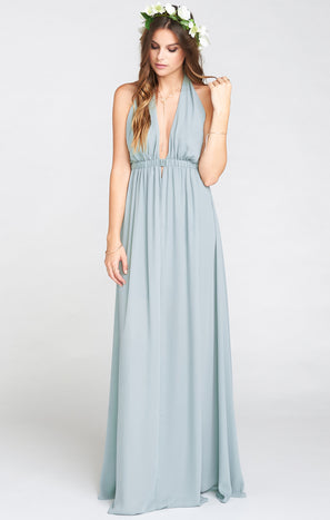Luna Halter Dress ~ Silver Sage Crisp