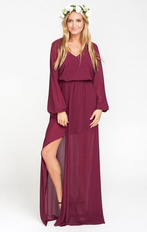 Jocelyn Maxi Dress ~ Merlot Chiffon