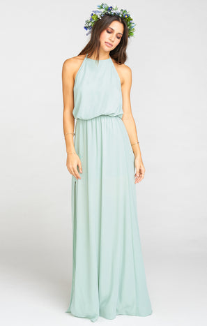 Heather Halter Dress ~ Dusty Mint Crisp