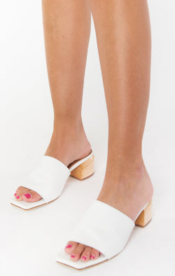 James Smith Sicily Mule Heels ~ White Leather