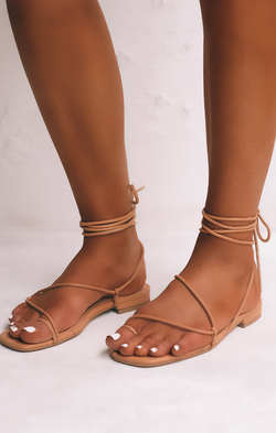 Billini Guava Wrap Up Sandals ~ Desert Tan