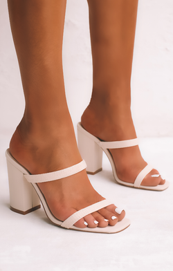 Billini Haze Block Heels ~ Cream Raffia