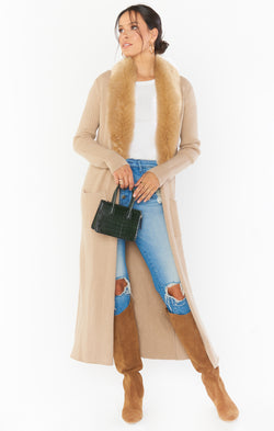 Lombardi Long Cardi ~ Taupe with Faux Fur