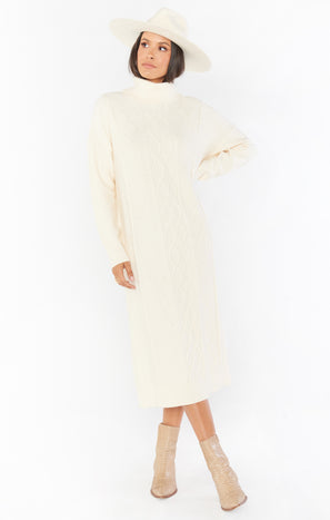 Montreal Midi Dress ~ Cream Cable Knit