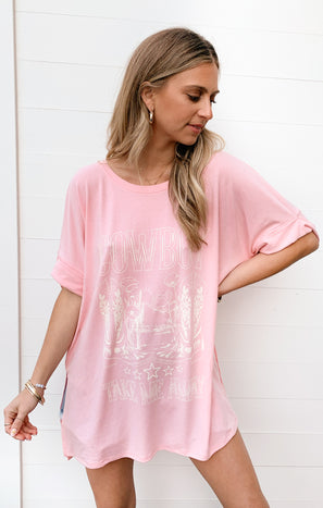Talia Tee ~ Pink Cowboy Take Me Away Graphic