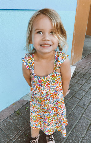 Dodd Ruffle Dress ~ Rainbow Fields