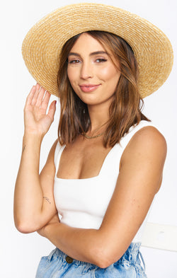 Joanie Wide Brim Straw Hat ~ Natural