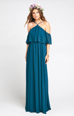 Rebecca Ruffle Maxi Dress ~ Deep Jade Chiffon