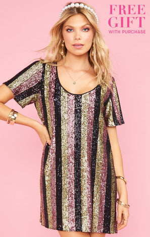 Katie Dress ~ Showtime Stripe Sequins