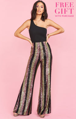 Late Night Party Pants ~ Showtime Stripe Sequins