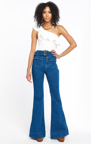 Farrah Trouser Flare ~ Braided True Blue