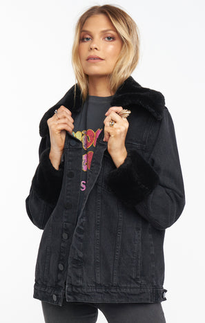 Denver Denim Jacket ~ Washed Black with Faux Fur