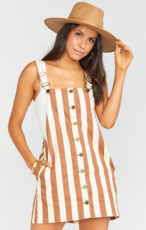 Julie Overall Dress ~ Cognac and Cream Stripe