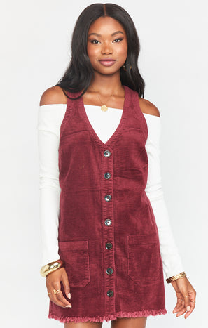 Mabel Mini Dress ~ Cranberry Corduroy