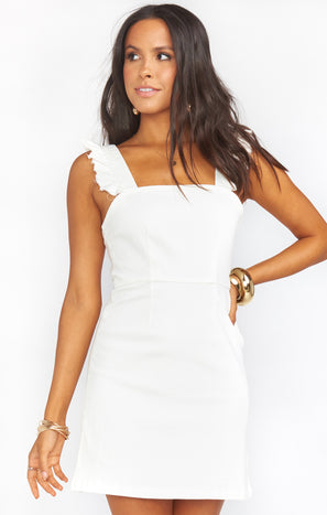Ruthie Ruffle Dress ~ Pearly White