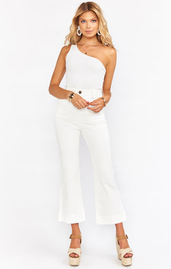 Cropped Farrah Trouser ~ Pearly White