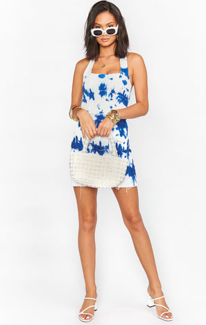 Duncan Halter Dress ~ Indigo Tie Dye