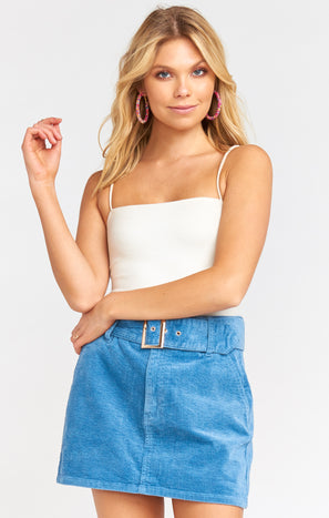 Tessa Belted Mini Skirt ~ Bright Dusty Blue Corduroy