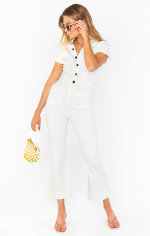 Cropped Everhart Jumpsuit ~ Pearly White