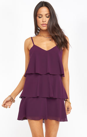 Suarez Ruffle Dress ~ Plum