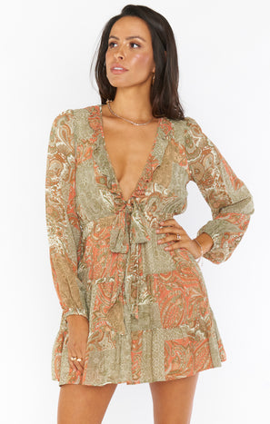 Addy Tie Dress ~ Paisley Dream