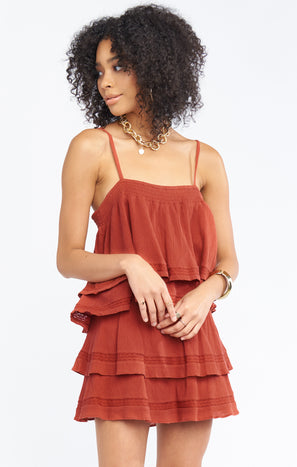 Aiden Mini Skirt ~ Burnt Sienna