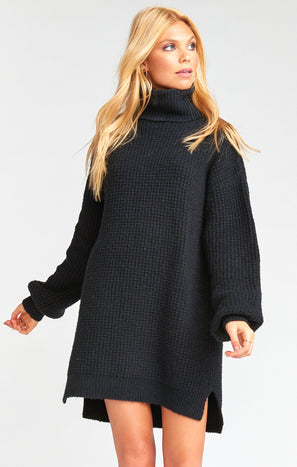 Chester Sweater Dress ~ Black Knit