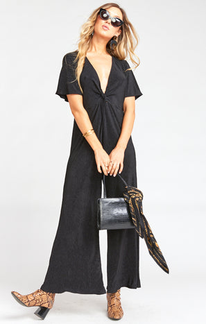 Daniella Jumpsuit ~ Ripple Scrunch Black