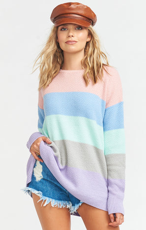 Cozy Bonfire Sweater ~ Icy Pastel Stripe