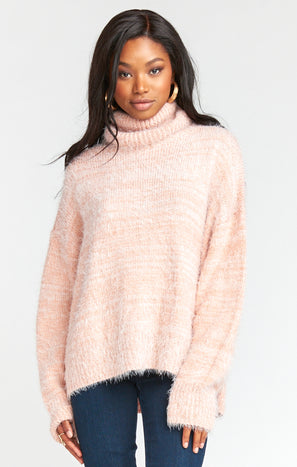 Fatima Turtleneck Sweater ~ Fuzzy Pink Knit