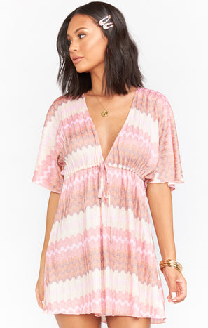 Kenzie Tunic Dress ~ Pink Groovy Knit