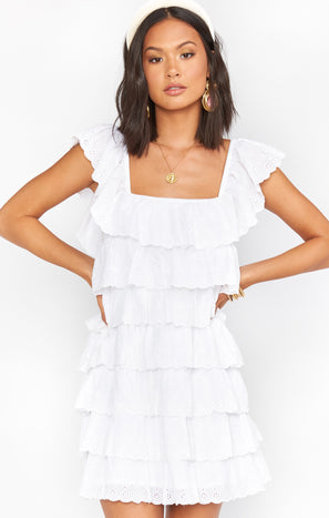 Lucy Mini Dress ~ White Eyelet