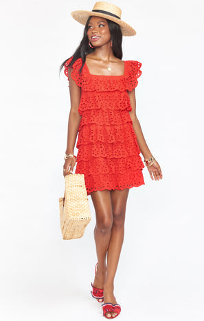 Lucy Mini Dress ~ Cherry Eyelet