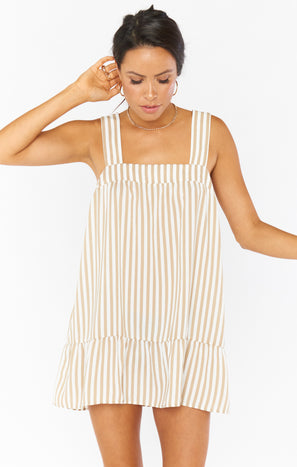 Goldie Dress ~ Beige Everyday Stripe